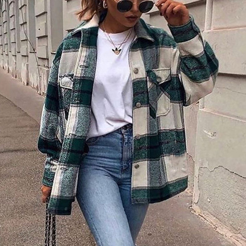 Oversized Checked Shirt Jacket