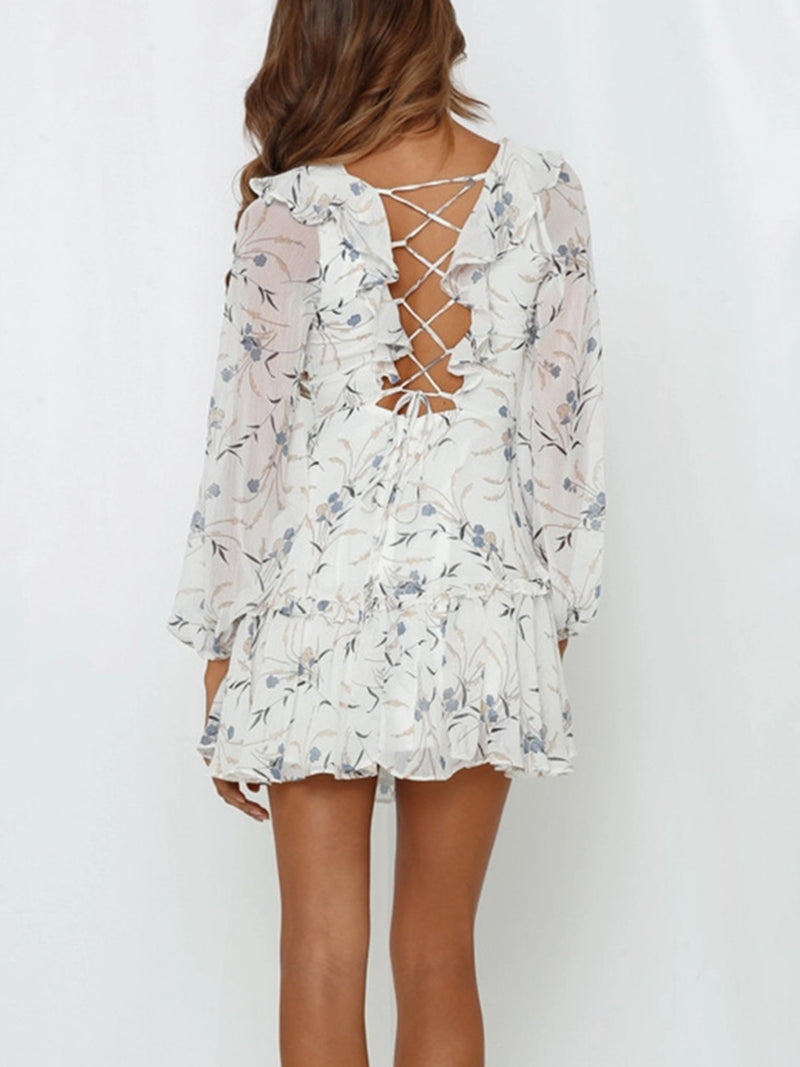 Ruffle V Neck Lace Up Back Long Sleeve Dress