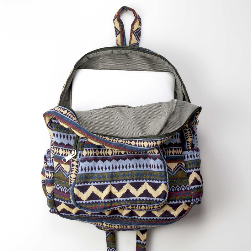 Boho Style Thailand Cotton Backpack-Green Row - worthtryit.com