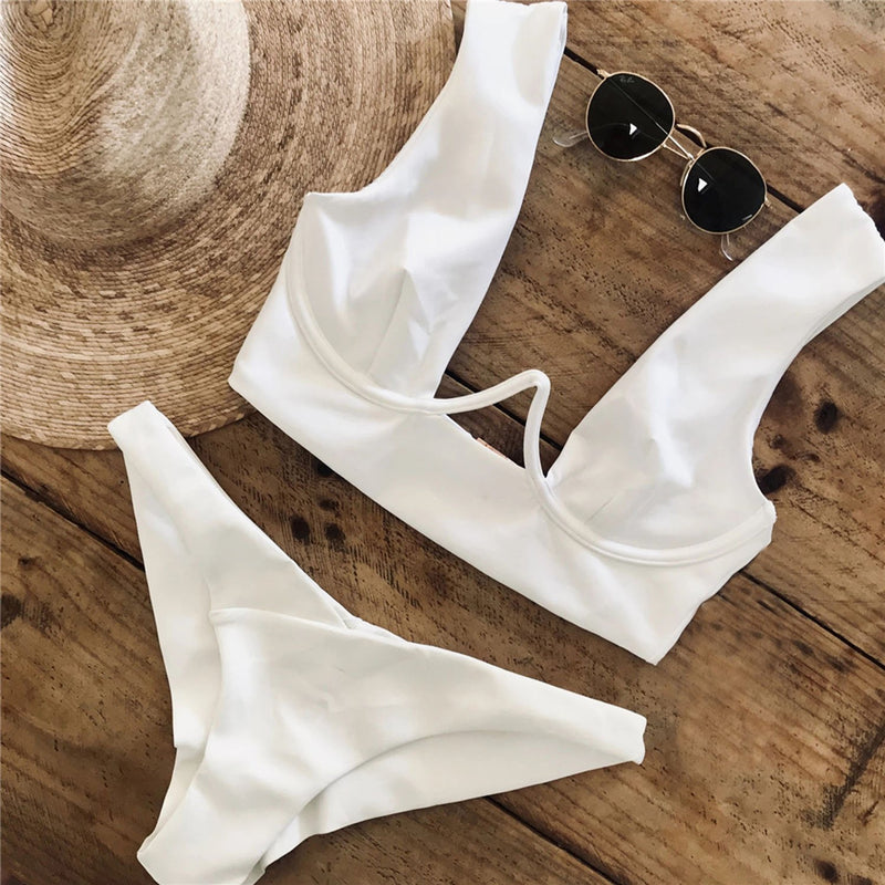 Solid Color High Wire Crop Top Bikini Swimsuit - worthtryit.com