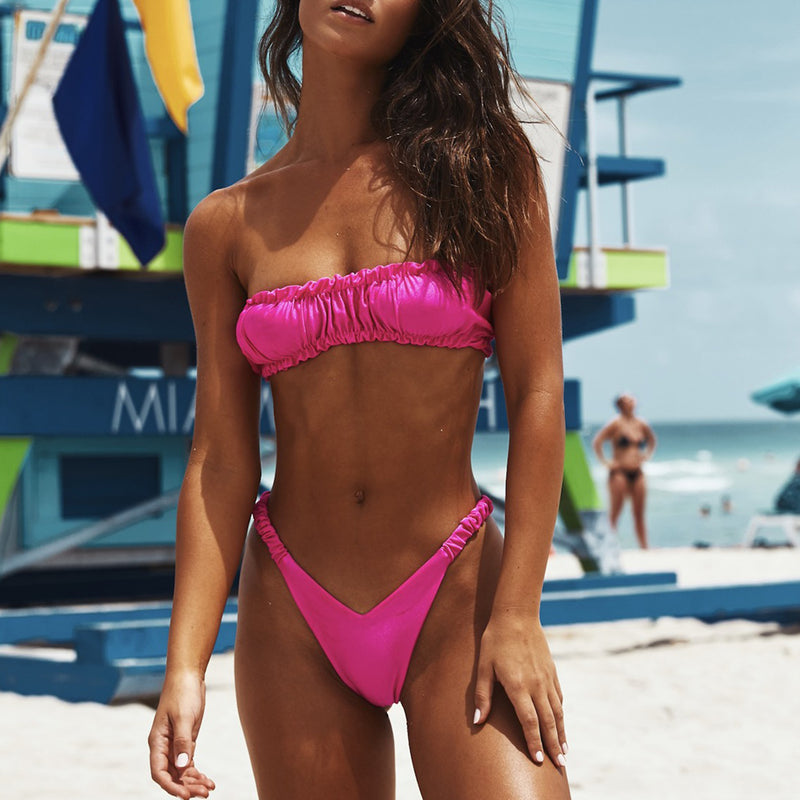 Scrunch Ruffle Bandeaux High Leg Bikini Swimsuit