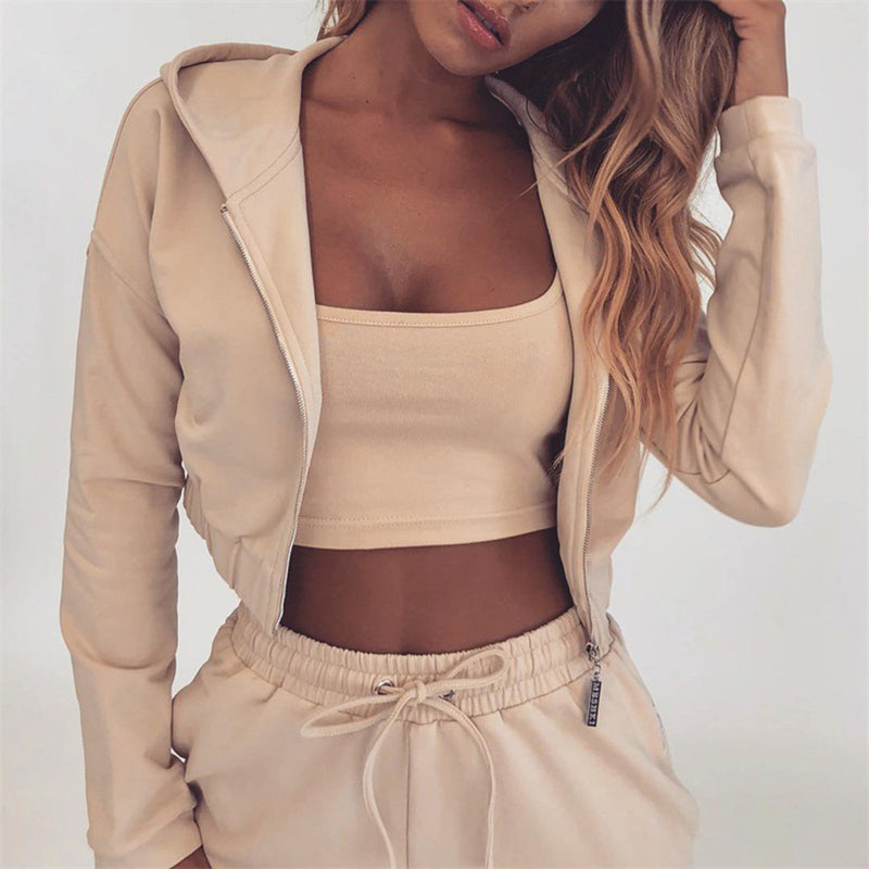 Hoodie Short Sweater & Sport Pants Two Piece Set - Beige