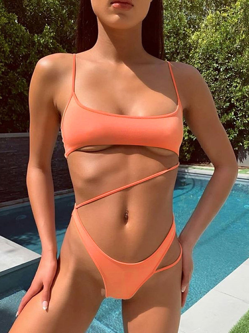 Side Straps One Piece Swimsuit - Peach