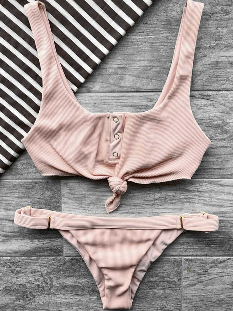 Ribbed Button Up Front Tie Bow High Rise Bikini Set - worthtryit.com