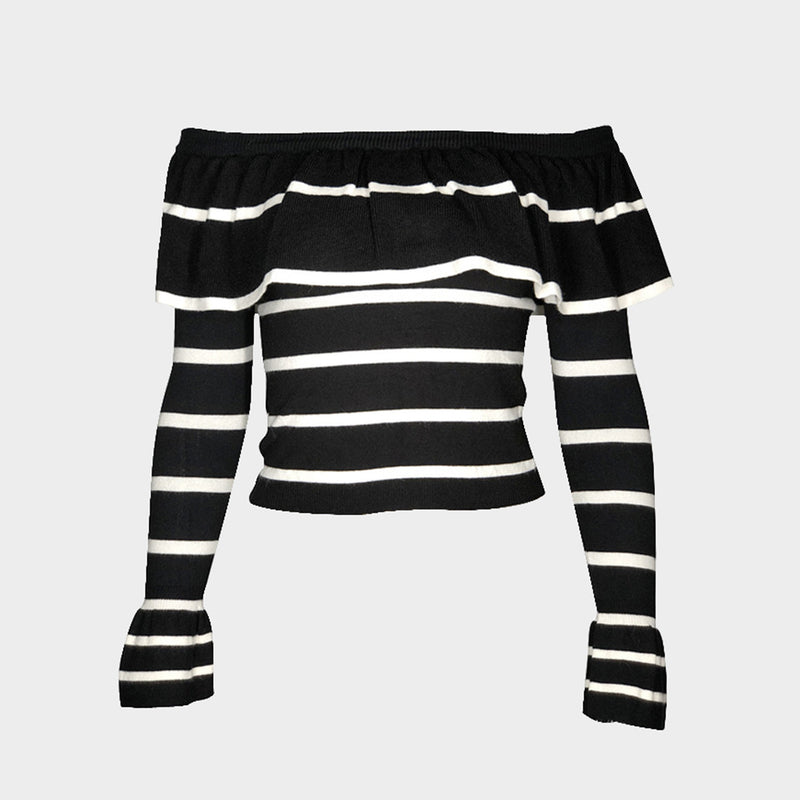 Stripe Ruffle Off Shoulder Long Sleeve Knit Sweater