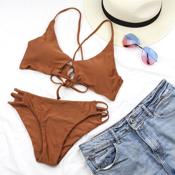 Back Cross Cross Bikini Set Hollow Out Bandage Bikinis-Brown - worthtryit.com