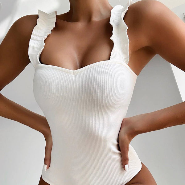 Rib Ruffle Shoulder One Piece Swimsuit - worthtryit.com