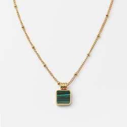 Malachite Square 18K Gold Necklace