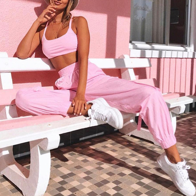 Lace Up Back Short Crop Top & Sport Pants Two Piece Suit