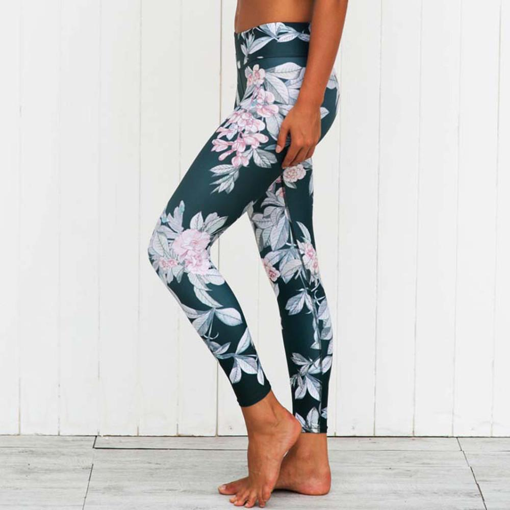 Floral Yoga Pants Fitness Leggings-Green