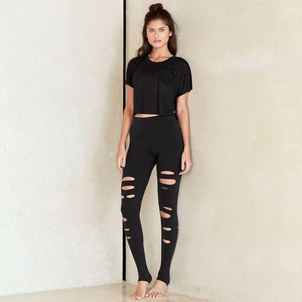 Hollow Hole Leggings Slim Yoga Pants-Black