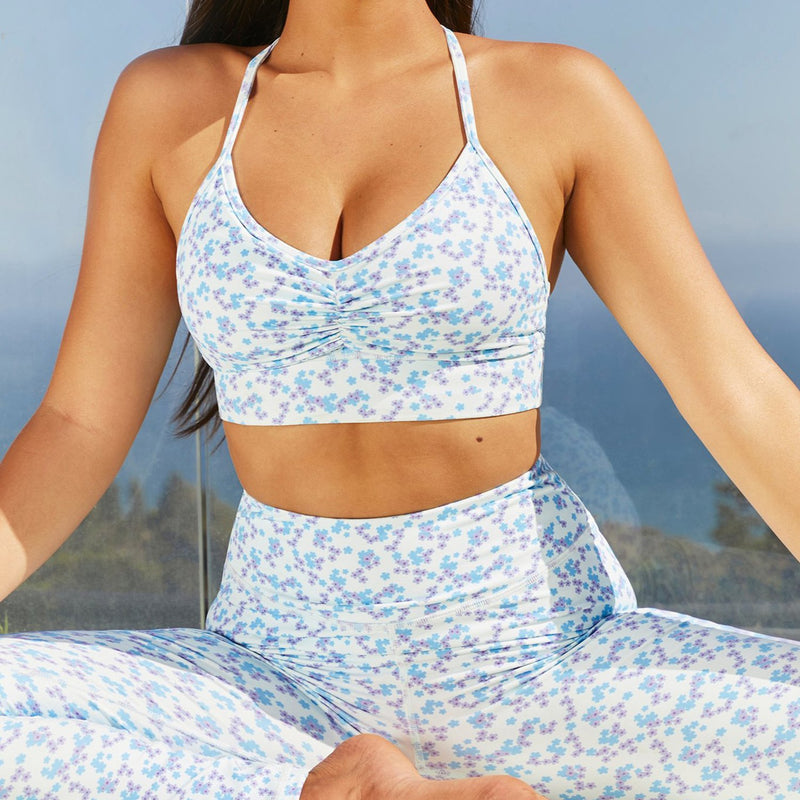 Floral  Crop Top High Waist Yoga Leggings Fitness Suit