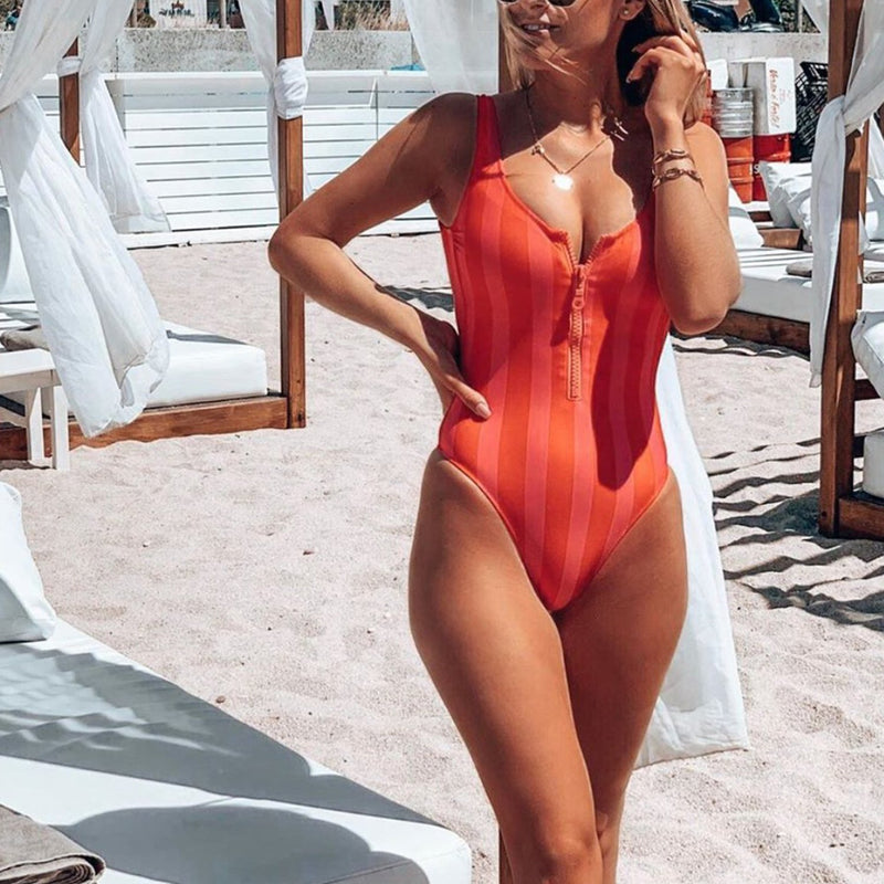 Colorful Stripes Front Zip One Piece Swimsuit