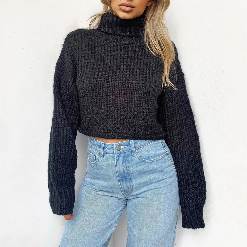 Turtle Neck Cropped Knit Sweater LB20
