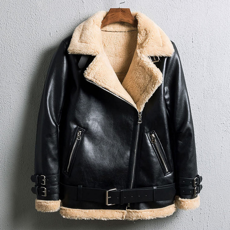 Oversized Faux Fur Moto Bike Jacket - worthtryit.com
