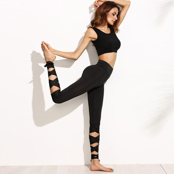 Lace Up Yoga Pants Bandage Tie Dance Leggings Fitness Pants-Black - worthtryit.com