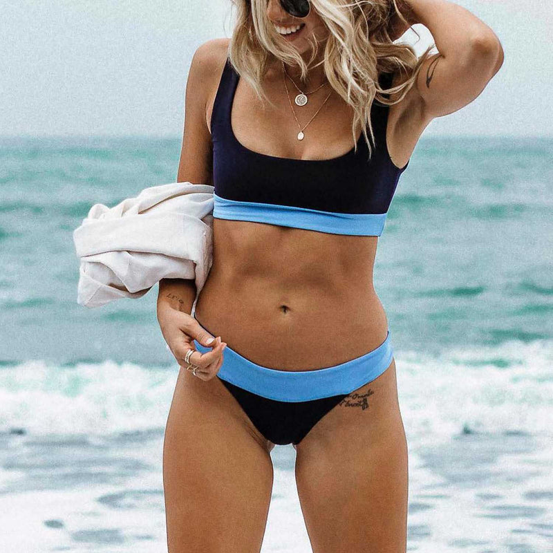 Blocked Crop Top High Cut Bikini Set - worthtryit.com