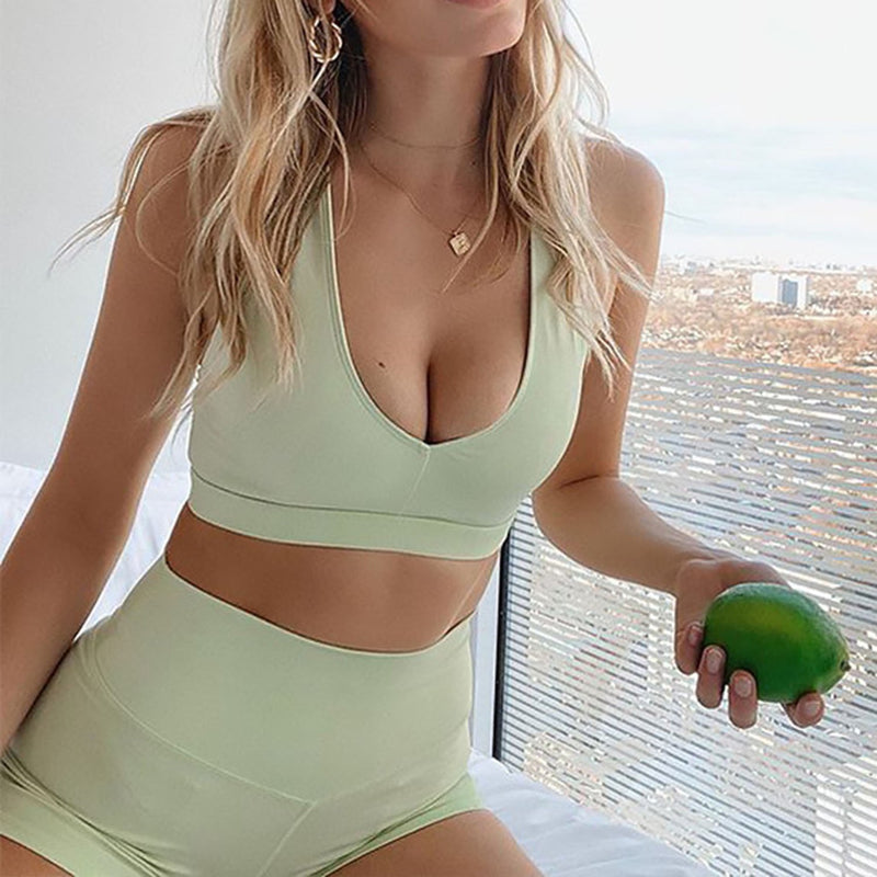 Solid Color Sport Crop Top & Yoga Shorts Set CZ20