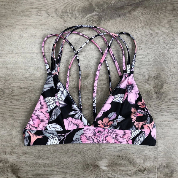 Floral Straps Back Crop Top High Waist Bikini Swimsuit
