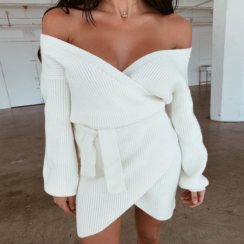 Wrap Over Deep V Neck Puff Shoulder Knit Dress