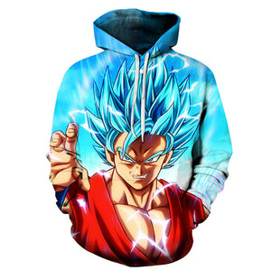 Excited Super Saiyan Blue Goku Hoodie