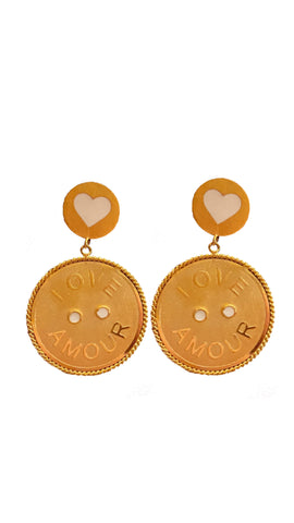 LOVE • AMOUR - big earrigns - gold 24kt