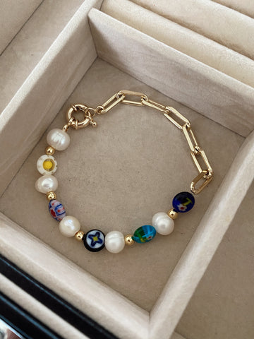 Millefiori - pearls - links - bracelet - gold 24k