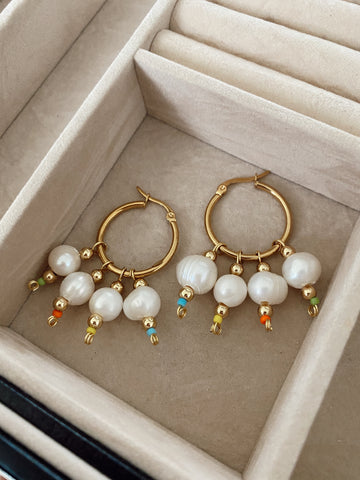 Big pearls - mediums - gold 24 - hoops