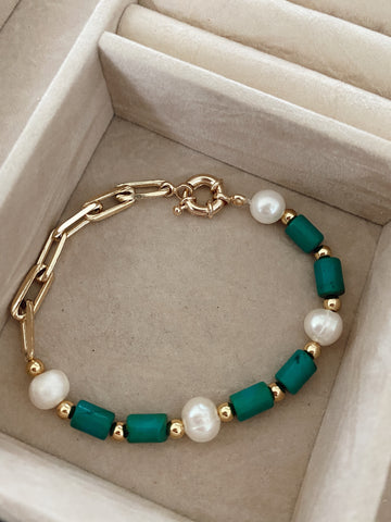 Pearls and turquoise - gold 24k - bracelet