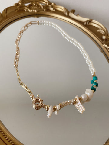 """Antonella"" necklace - pearls - turquoise - and chains"