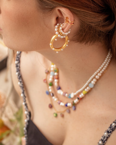 The Ultimate Pearls Hoops - gold 24kt