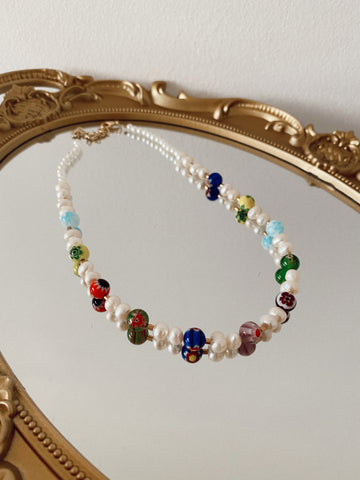 Big pearls and Millefiori - Necklace