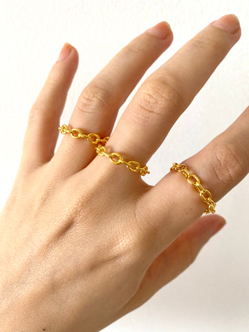 Tiny chain ring - gold 24k