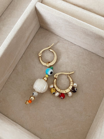 Irregular Multi eyes pearls - Mini hoops - gold 24k