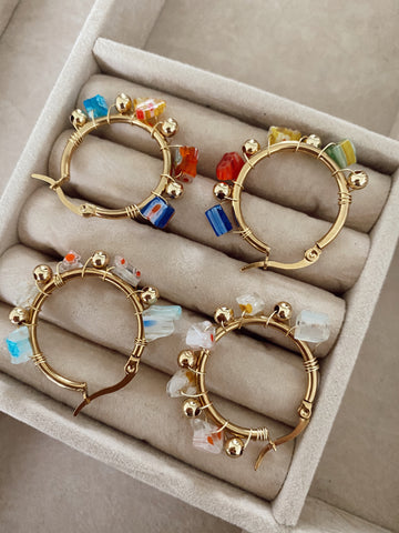 Cuarzos de Millefiori - Medium - gold 24k hoops