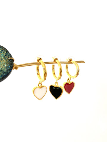 Mini hoops - Heart- Gold Plated 24k