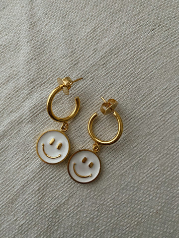 Happy face mini hoops - :)