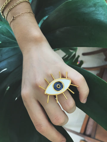 EYE LASHES RING - Ojo pestañas - GOLD 24k