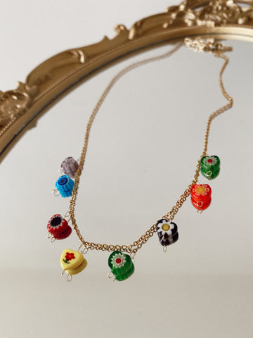 Millefiori charms chain - multicolor