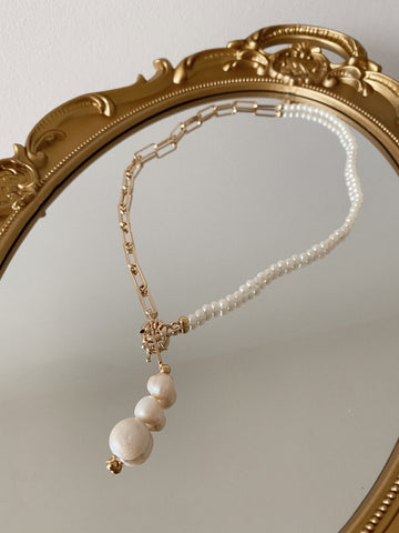 """Adele"" necklace - mid pearls - mid links gold24k"