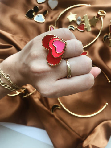 Heart degree - Ring adjustable - Gold24k Plated