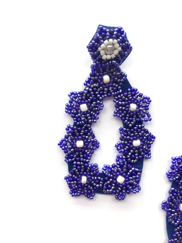 Flower drop - hand made - luxury limited edition - Blue navy