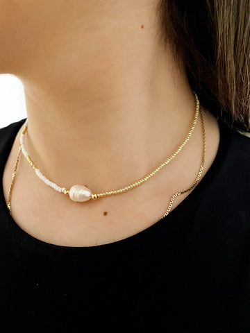 Central pearl Choker - adjustable real pearl choker
