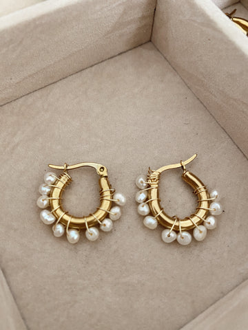 Multi pearls mini hoops - gold 24k -