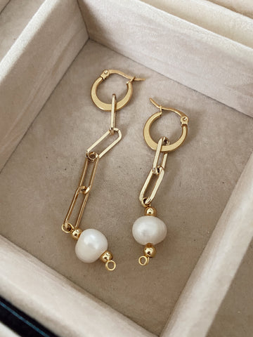 "The ""irregular links pearls "" - earrigns - gold 24k"