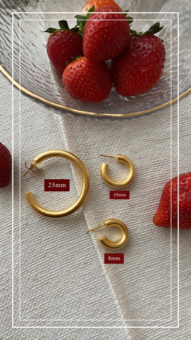 Your BASIC timeless Hoops - Texturized Gold 24KT