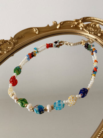 Millefiori ovals and pearls - necklace