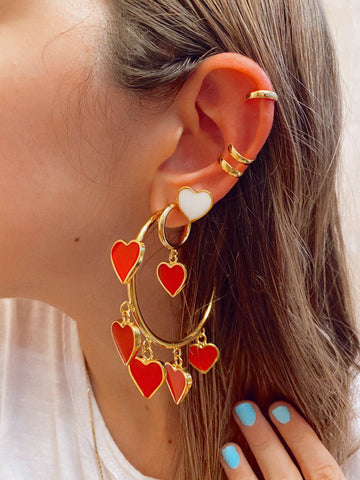 MULTI HEART ❤️ BIG GOLD 24KT hoops