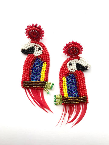 Guacamaya con plumas - beads - limited pieces