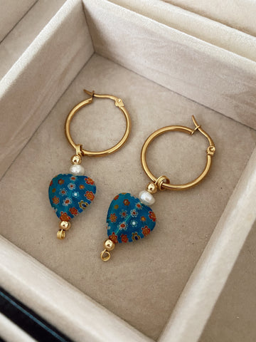 Big hearts millefiori - mediums - Gold24k hoops